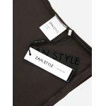ZANSTYLE Women Lace Up V Neck Coffee Top Tee - COFFEE