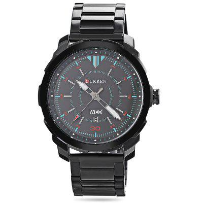 CURREN 8266 Male Quartz WatchMens Watches<br>CURREN 8266 Male Quartz Watch<br><br>Band material: Stainless Steel<br>Band size: 24.00 x 2.40 cm / 9.45 x 0.94 inches<br>Brand: Curren<br>Case material: Alloy<br>Clasp type: Folding clasp with safety<br>Dial size: 4.50 x 4.50 x 1.10 cm / 1.77 x 1.77 x 0.43 inches<br>Display type: Analog<br>Movement type: Quartz watch<br>Package Contents: 1 x CURREN 8266 Male Watch<br>Package size (L x W x H): 11.50 x 8.40 x 6.80 cm / 4.53 x 3.31 x 2.68 inches<br>Package weight: 0.2600 kg<br>Product size (L x W x H): 24.00 x 4.50 x 1.10 cm / 9.45 x 1.77 x 0.43 inches<br>Product weight: 0.1350 kg<br>Shape of the dial: Round<br>Special features: Day, Date<br>Watch color: Silver and White, Silver and Black, Black and Gray, Black and Blue, Black<br>Watch mirror: Mineral glass<br>Watch style: Business<br>Watches categories: Men<br>Water resistance: 30 meters
