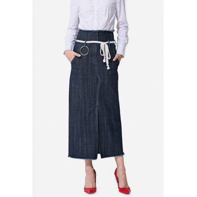 Close-fitting Split Hem Jeans Skirt