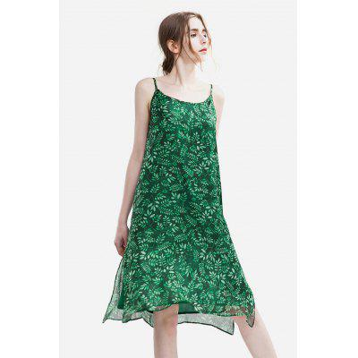 Buy GREEN Slim Chiffon Floral Print Female Dress for $25.35 in GearBest store