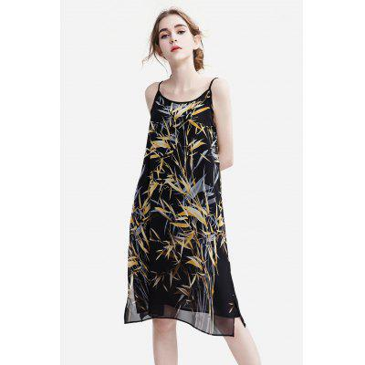 Buy YELLOW Slim Chiffon Floral Print Female Dress for $25.35 in GearBest store