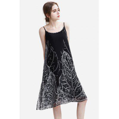 Buy BLACK 35 Slim Chiffon Floral Print Female Dress for $25.35 in GearBest store