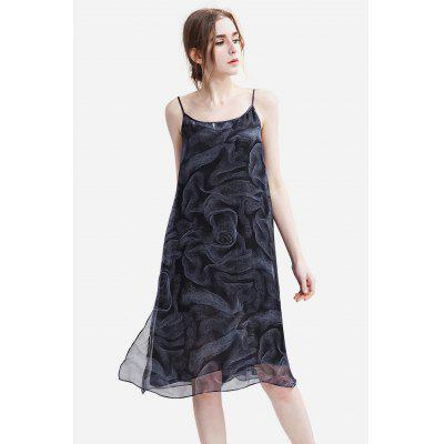 Buy BLACK Slim Chiffon Floral Print Female Dress for $25.35 in GearBest store