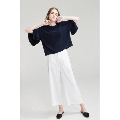 Buy WHITE Wide Cropped Trousers for $21.22 in GearBest store