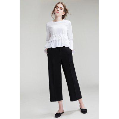 Buy BLACK Wide Cropped Trousers for $21.22 in GearBest store