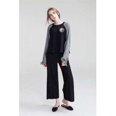 Buy BLACK Side Slit Wide Cropped Trousers for $25.35 in GearBest store