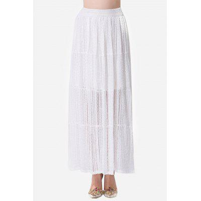 Lace Solid Color Elastic Waist Women Long Skirt