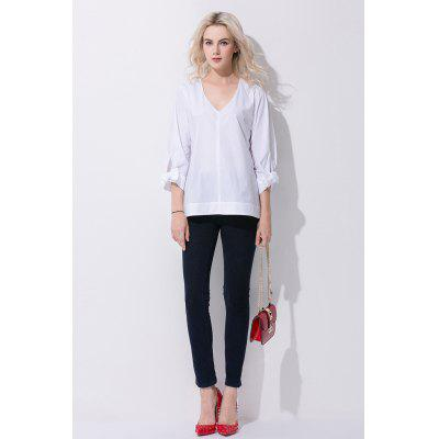 Fashion Bowknot Women V-Neck Blouse