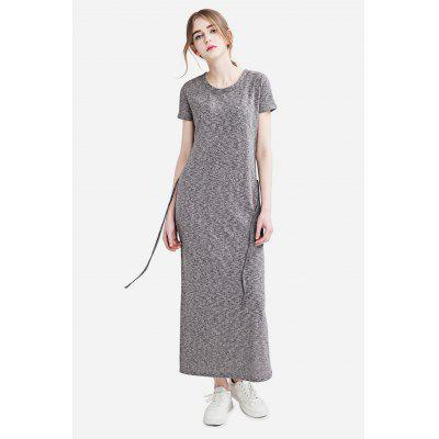 Slim Round Collar Short Sleeve Solid Color Long Dress for Women