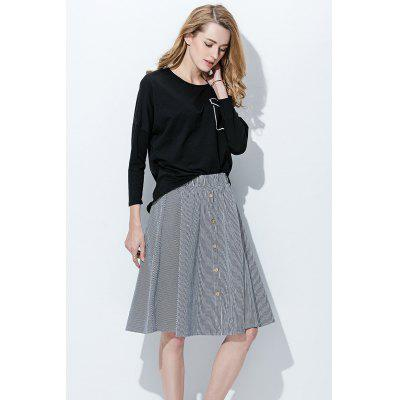 Elastic Waist Single Breasted Striped A-line Skirt