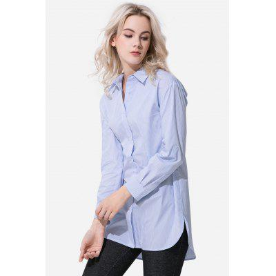 Long Sleeve Striped Cotton Women Shirt