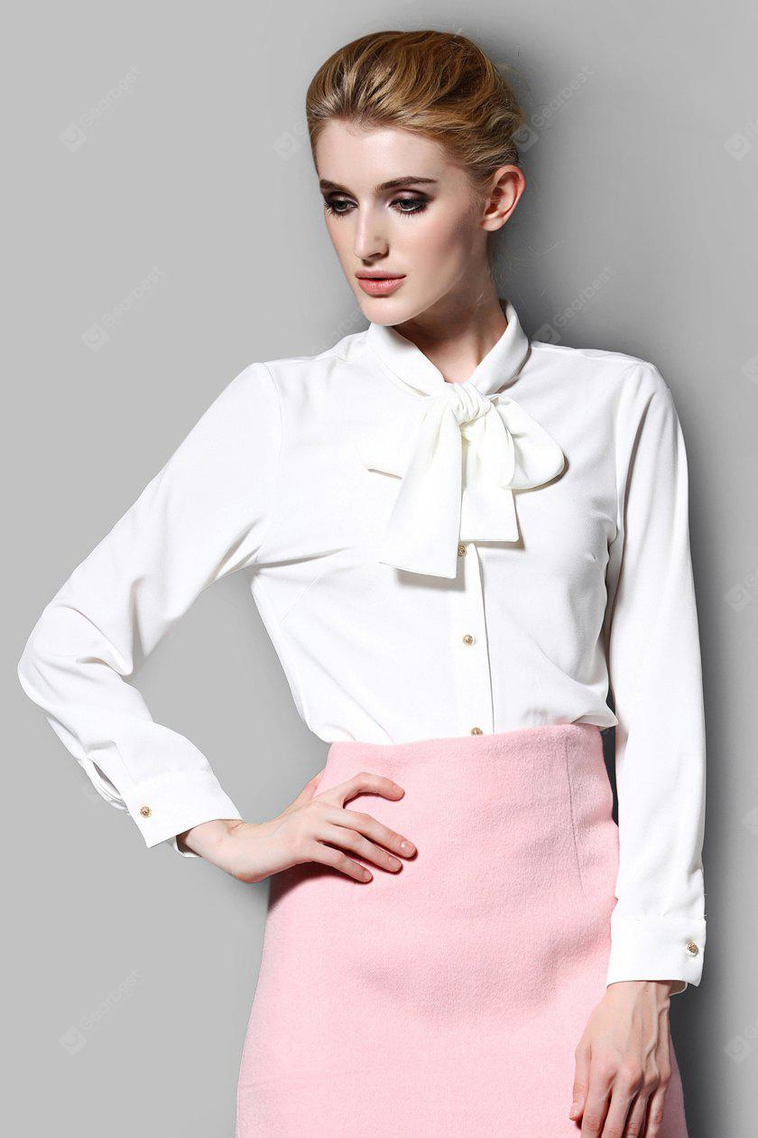Bowknot Solid Color Women Shirt