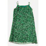 Slim Chiffon Floral Print Female Dress - GREEN