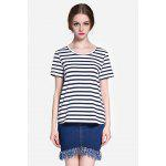 Basic Striped T-shirt - BLACK WHITE