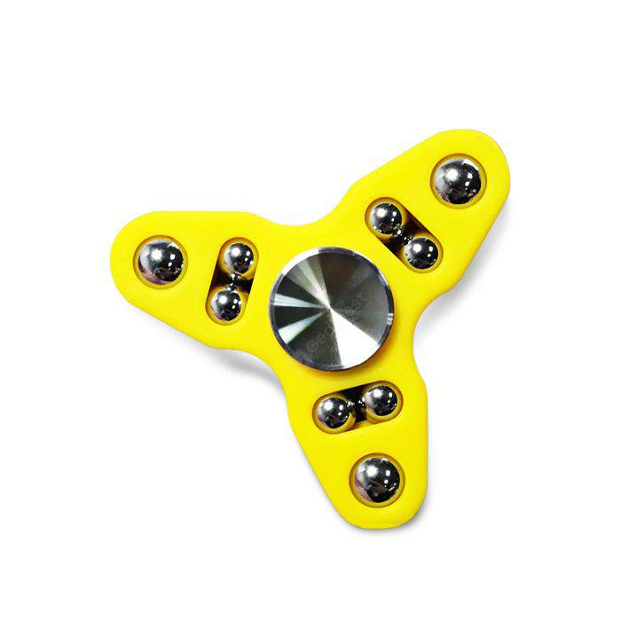YELLOW 9-ball Tri-spinner Hand Spinner Fidget Toy Stress Reliever Tool