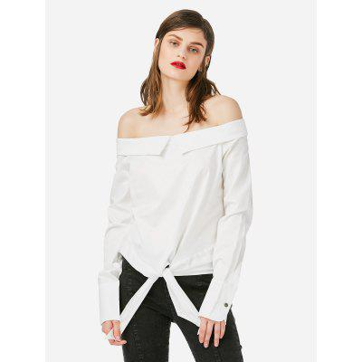 Female Boat Neck White Blouse