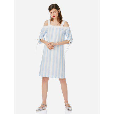 Buy BLUE AND WHITE Women Gray and White Open Shoulder Dress for $21.71 in GearBest store
