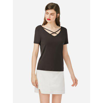 ZANSTYLE Women Lace Up V Neck Coffee Top Tee