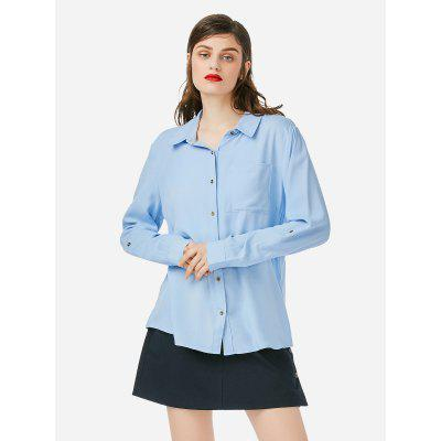 Women Long Sleeve Collar Blue Blouse