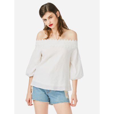 Mulheres Off Shoulder Lace White Top