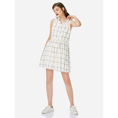 Robe sans manches blanche col chemise femme