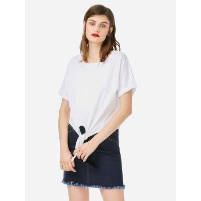 Women Crew Neck Knotted White T Shirt