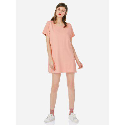 ZANSTYLE Women Crew Neck Shirt Pink Dress