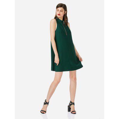 ZANSTYLE Frauen Sleeveless Blackish Green Halter Kleid