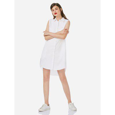 Women Sleeveless White Shirt Dress