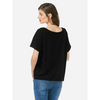 Female Crew Neck Black T ShirtTank Tops<br>Female Crew Neck Black T Shirt<br>