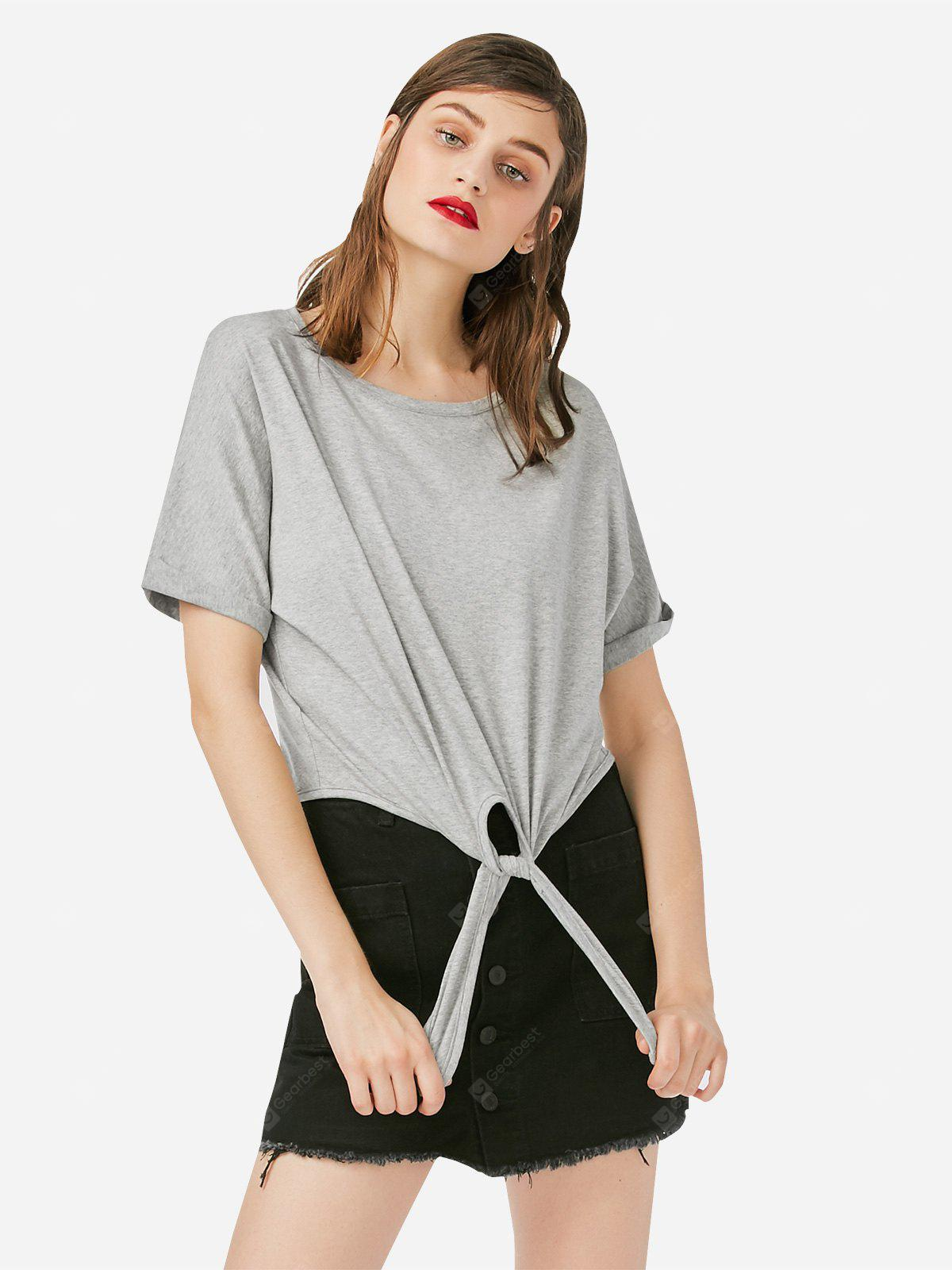 Women Crew Neck Knotted Gray T Shirt