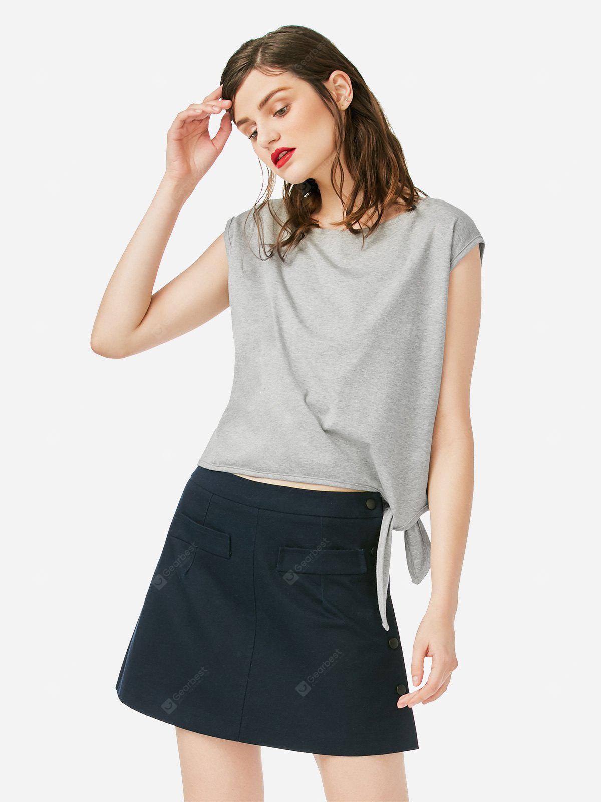 Women Crew Neck Knotted Gray Top