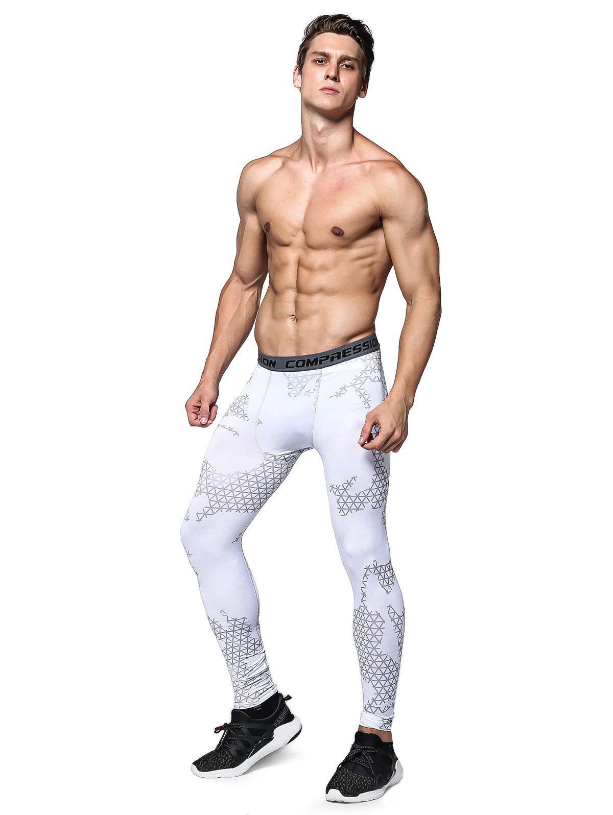 WHITE XL Training Compression Tights with Plaid Pattern