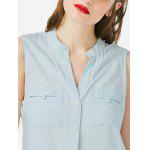 ZANSTYLE Women V Neck White Tank Top - LIGHT BLUE