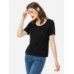 Women Crew Neck Black T Shirt - BLACK