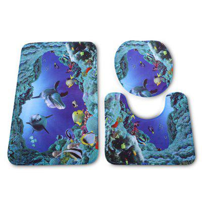 Sea Fish Bathroom Toilet Rug Mat Set