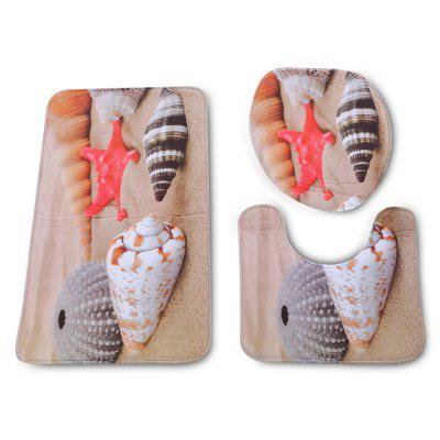 Beach Conch Bathroom Toilet Rug Mat Set