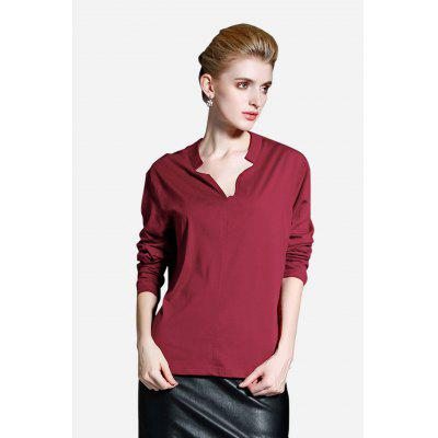 V-neck Long Sleeve Women T-shirt