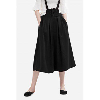 Dadayuga Suspender Solid Color Half Wide Leg Pants for Women