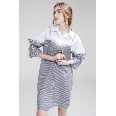 Buy BLACK M Loose False Two-piece Women Shirt Dress for $9.30 in GearBest store
