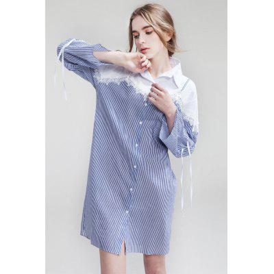 Buy BLUE M Loose False Two-piece Women Shirt Dress for $9.30 in GearBest store