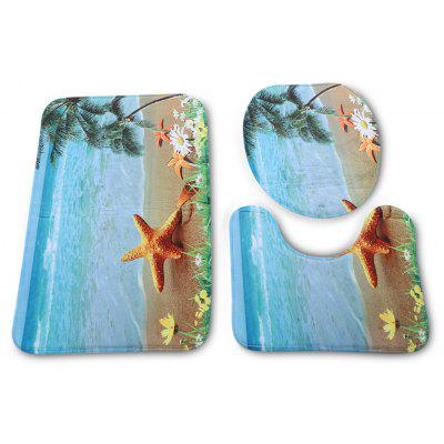 Beach Starfish Bathroom Toilet Rug Mat Set