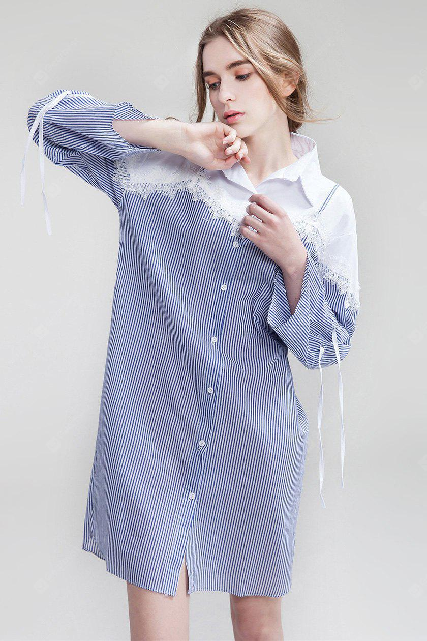 BLUE M Loose False Two-piece Women Shirt Dress