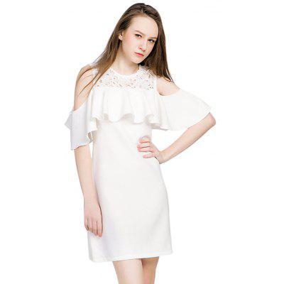 Buy WHITE GENPRIOR Cold Shoulder Lace Mini Dress for $23.76 in GearBest store