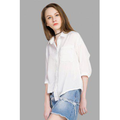 Buy Front Pocket Novel Asymmetric White Blouse, WHITE, L, Apparel, Women's Clothing, Blouses for $10.74 in GearBest store
