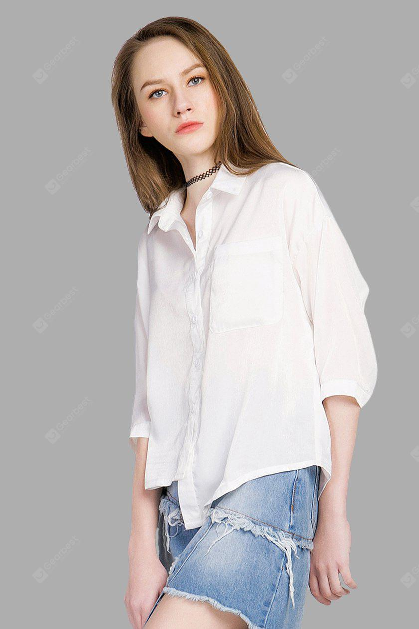 Front Pocket Novel Asymmetric White Blouse, WHITE, S, Apparel, Women's Clothing, Blouses