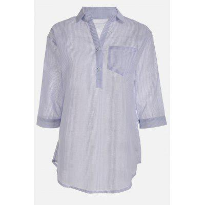 Buy Front Pocket Half Sleeve Pinstripe Shirts, BLUE, XL, Apparel, Women's Clothing, Blouses for $11.47 in GearBest store