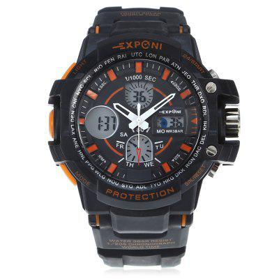 EXPONI 3205 Backlight Outdoor Sports Digital Quartz WatchSports Watches<br>EXPONI 3205 Backlight Outdoor Sports Digital Quartz Watch<br><br>Available Color: Blue,Orange,Red,White<br>Band material: Rubber<br>Band size: 27 x 3.00 cm / 10.6 x 1.18 inches<br>Brand: EXPONI<br>Case material: Rubber<br>Clasp type: Pin buckle<br>Dial size: 5.20 x 1.70 cm / 10.63 x 2.05 x 0.67 inches<br>Display type: Analog-Digital<br>Movement type: Quartz + digital watch<br>Package Contents: 1 x EXPONI 3205 Digital Quartz Watch<br>Package size (L x W x H): 9.00 x 6.00 x 7.00 cm / 3.54 x 2.36 x 2.76 inches<br>Package weight: 0.1500 kg<br>People: Female table,Male table<br>Product size (L x W x H): 27.00 x 5.20 x 1.70 cm / 10.63 x 2.05 x 0.67 inches<br>Product weight: 0.0700 kg<br>Shape of the dial: Round<br>Special features: Alarm Clock, Stopwatch<br>Watch style: Outdoor Sports<br>Water resistance: 30 meters<br>Wearable length: 15.5 - 23.00 cm / 6.10 - 9.05 inches