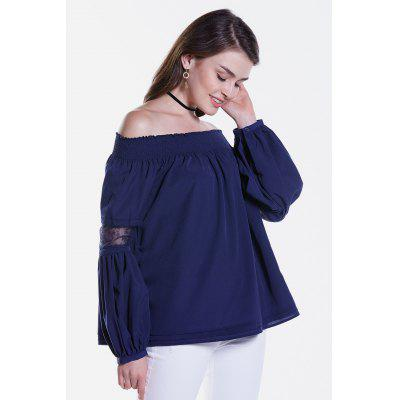 Sheer Lace Splicing Long Sleeve Off The Shoulder Blouse