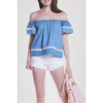 MAI CHUS Off The Shoulder Short Sleeve Tops - LIGHT BLUE
